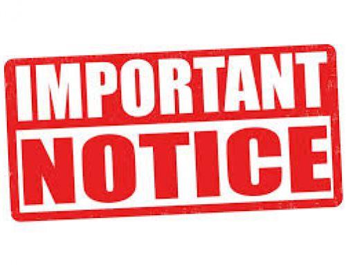 Important notice: 29/06/2020