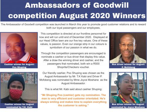 Ambassadors of Goodwill competition August 2020 Winners